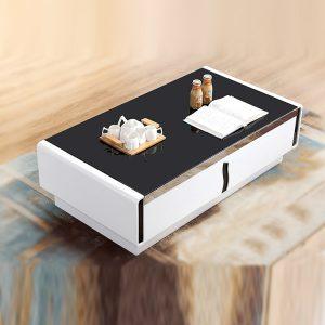 Bàn trà sofa gỗ 2 ngăn kéo mặt kính là sản phẩm nội thất cần thiết để tăng tối đa sự tiện nghi và vẻ đẹp của bộ ghế sofa cũng như nội thất phòng khách, phòng chờ. Chất liệu: Gỗ MFC phủ Melamine Màu sản phẩm: Sang trọng với tone Đen trắng