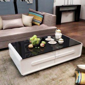 Bàn trà sofa kính 2 ngăn kéohiện đại mang tới vẻ đẹp đẳng cấp và cực kỳ sang chảnh. Một không gian mới, một sức sống mới, vẻ đẹp sang trọng mà gia chủ nào cũng muốn có trong phòng khách hiện đại của gia đình mình.