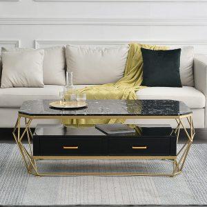 Bàn trà sofa khung kim loại ngăn kéo mặt đá phong cách châu âu sang trọng. Mẫu bàn sofa đẹp được thiết kế từ đá dày 8ly chịu được những va đập an toàn cho người sử dụng, hạn chế tối đa vết trầy xước, tuổi thọ sử dụng lâu dài hơn.