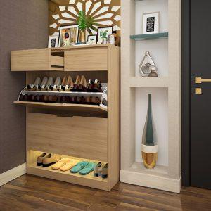 Tủ giày 3 cánh lật thông minh 2 ngăn kéo không chỉ đơn thuần là nơi chứa đựng giày dép mà còn là điểm nhấn đầu tiên của khách khi bước vào nhà bạn. Thiết kế tiện dụng, dễ dàng di chuyển và lắp đặt, tiết kiệm tối đa không gian một cách hiệu quả nhất. Phù hợp cho gia đình có 4-5 thành viên, tủ giày có chứa lên tới 30 đôi giày dép